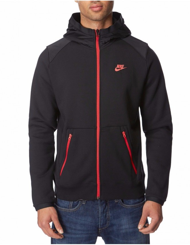Nike Mens Slim Fit Black Grey Full Zip Tracksuit Hoody and Joggers Size S-XL