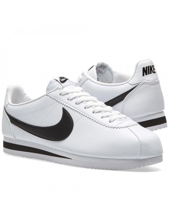Nike Men's Leather Cortez Classic Black White Low Top Running Trainers