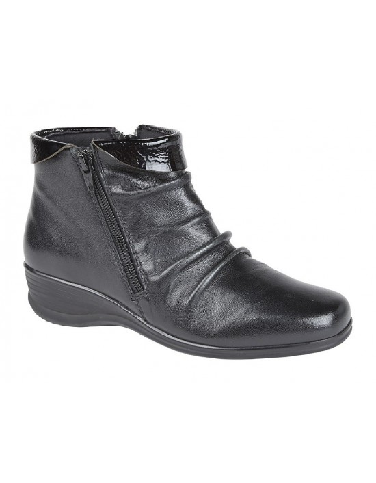 Mod Comfys Leather Mid Cut Ruched Ladies Fashion Ankle Boots