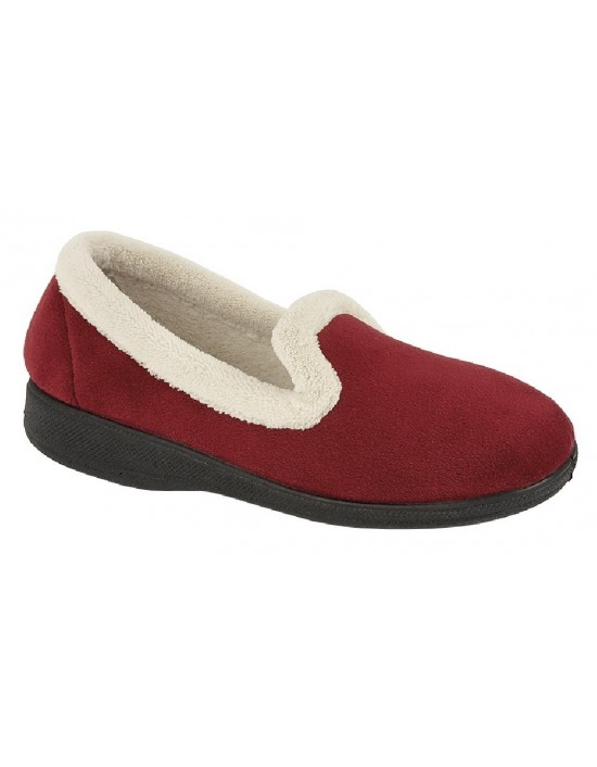 Ladies Full Slippers Sleepers SOPHIA Textile Navy Wine