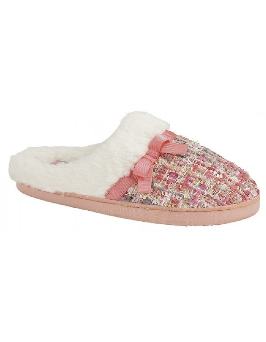 Zedzzz ELLA Textile Faux Fur Cuff Mule Memory Foam Indoor Slippers