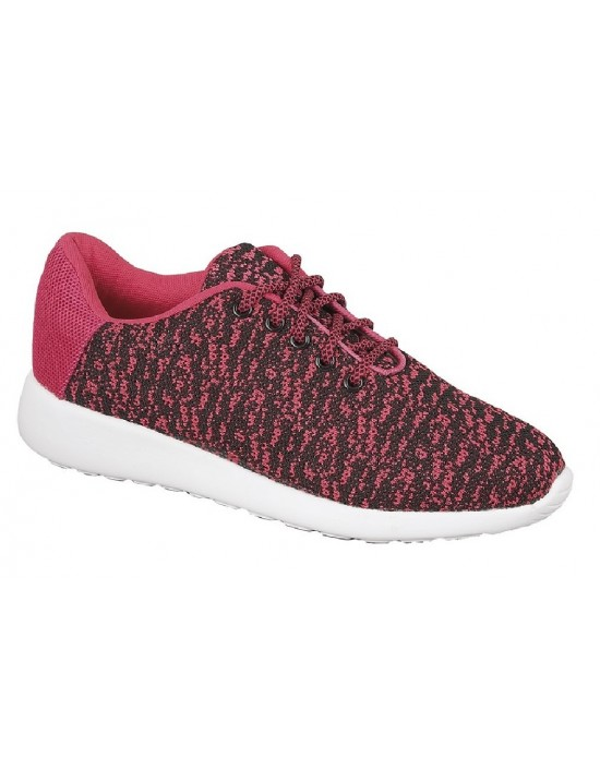 Ladies Dek DEMI T878 Pink Black Superlight Memory Foam Lace Trainers