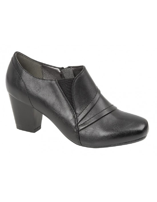 Ladies Boulevard L9520 Diane Inside Zip Black Mid Heel Ankle Shoe Boots