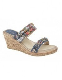 Cipriata L9570 Women's Jewelled Twin Strap Wedge Mule Sandals