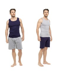 Mens Pyjama Short Vest Top Sleeveless & Lounge Shorts Bottoms Summer