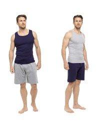 Mens Pyjama Short Vest Top Sleeveless & Lounge Shorts Bottoms Summer