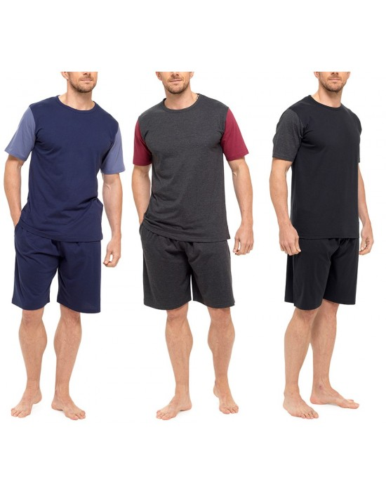 Mens Pyjamas Set Short Sleeve Top Pants Summer PJs Summer Loungewear
