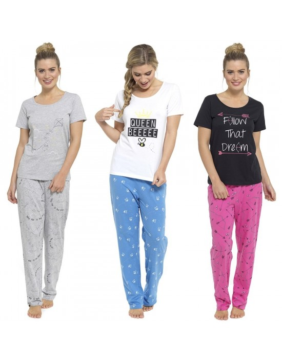 Ladies-Womens-Pyjamas-PJ-Set-Long-Sleeve-Top-Nightwear-LoungeWear-Pajamas