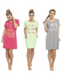 Womans Cotton Printed Night Shirt Dress Ladies Top T Shirt Sleepwear