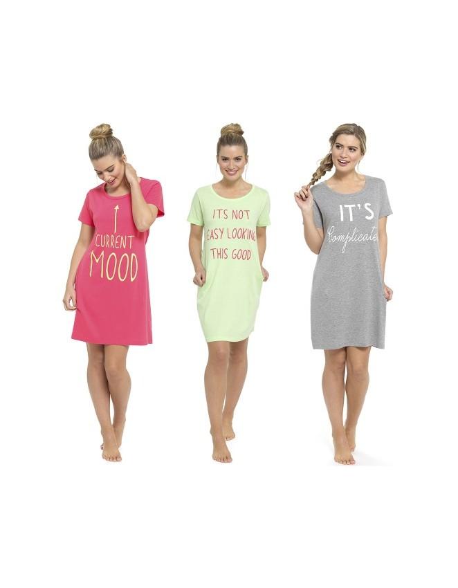 Ladies Short Sleeve Nightdress Cotton Jersey Sizes 8-22 Night Shirt Nightie