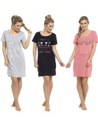 Ladies Fun Print Jersey Nightdress Cat Mermaid & Unicorn Size 8-22