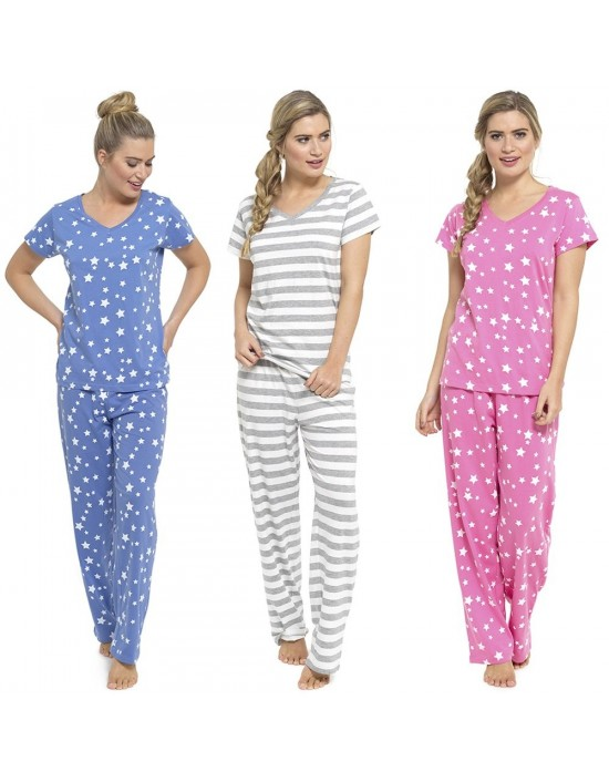 Ladies Pyjama Set In Three Colours Blue Grey Pink Sizes 8-22