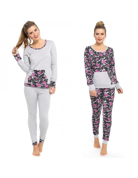 Ladies Cotton Jersey Long Sleeve Top Camo Print Leggings Pyjamas Sets Nightwear PJs