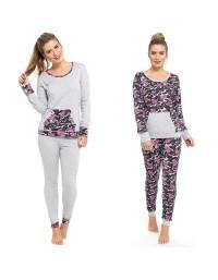 Ladies Satin Floral Camo Pyjama Set Lounge Wear