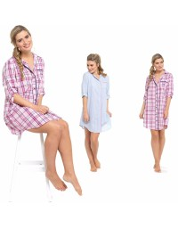 Ladies Pyjamas Nighty Polly Cotton Shirt Style Night Wear