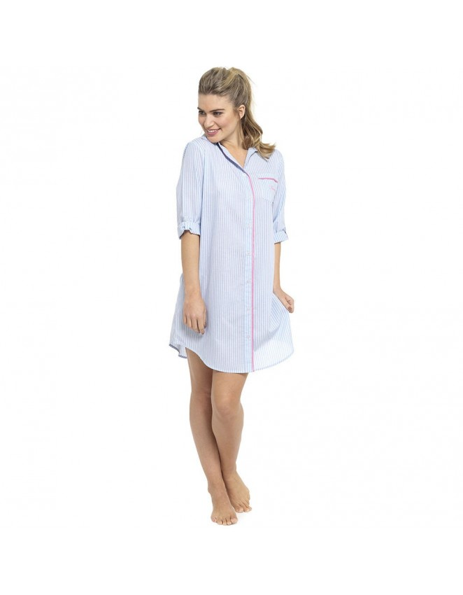Ladies Boyfriend Style Nightshirt Cool Poly Cotton Button Up Summer Nightie