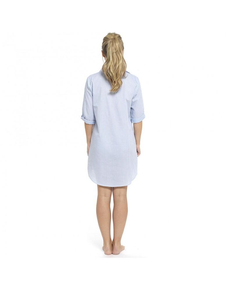 436487126230 Ladies Boyfriend Style Nightshirt Cool Poly Cotton Button Up Summer Nightie