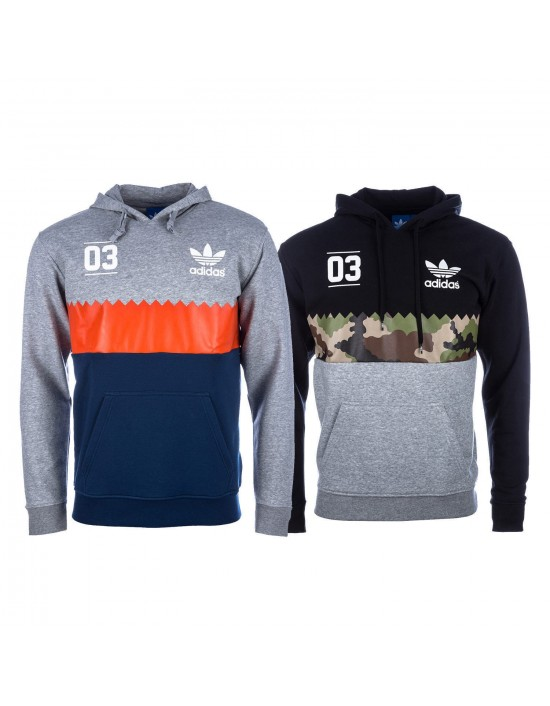 Mens New Adidas Originals Serrated Trefoil Hoody Sweatshirts Top In Black & Grey