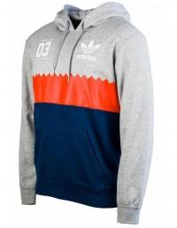 Mens New Adidas Originals Serrated Trefoil Hoody Sweatshirts Top In Black & Grey