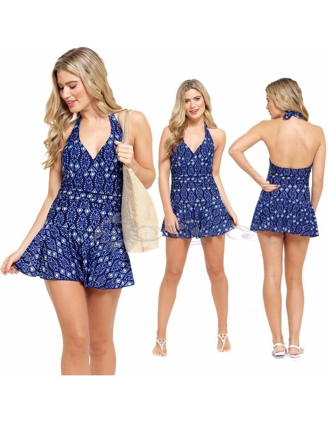 Ladies Navy Designer Tummy Control Swimming Costume Swim Dress Halterneck