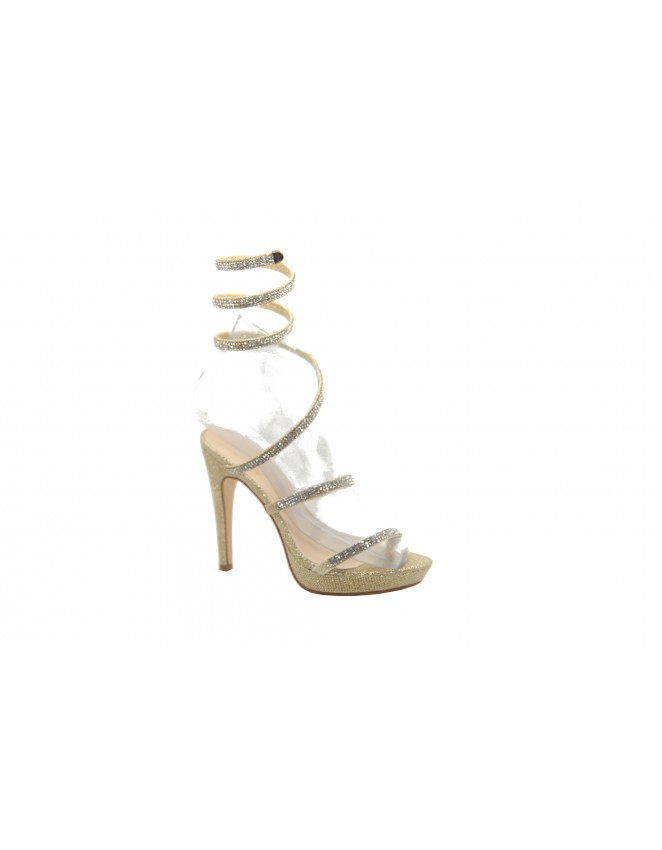 Ladies Gold Party Sparkly Evening Wedding Ankle Strap Shoes High Heel Sandals