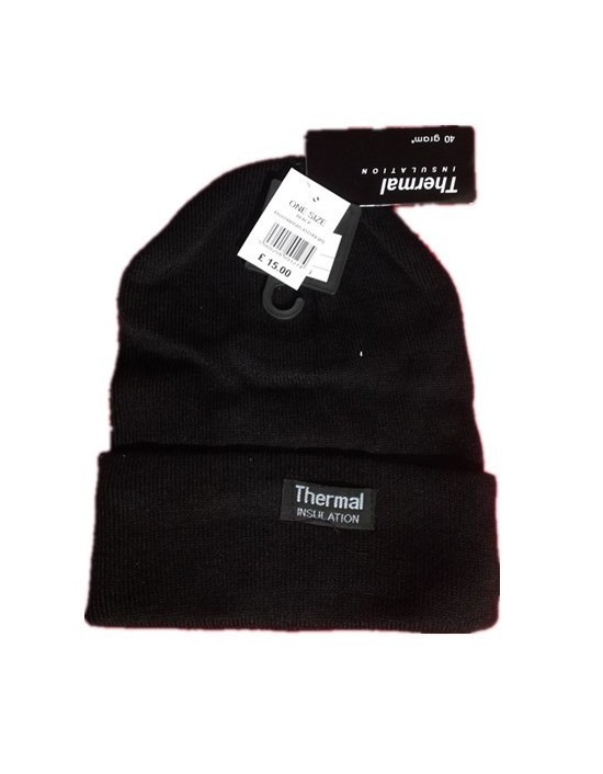 Thermal Insulation Hat 40g Unisex One Size Black Ribbed Plain Hats
