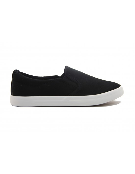 Ladies Black Textile Canvas Slim Fit Slip On Twin Gusset Daps Yachting Plimsolls Deck Shoes