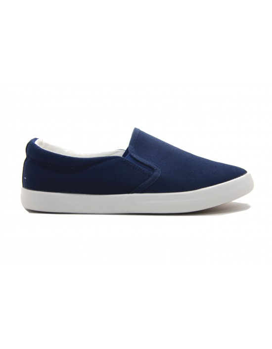Ladies Navy Textile Canvas Slim Fit Slip On Twin Gusset Daps Yachting Plimsolls Deck Shoes
