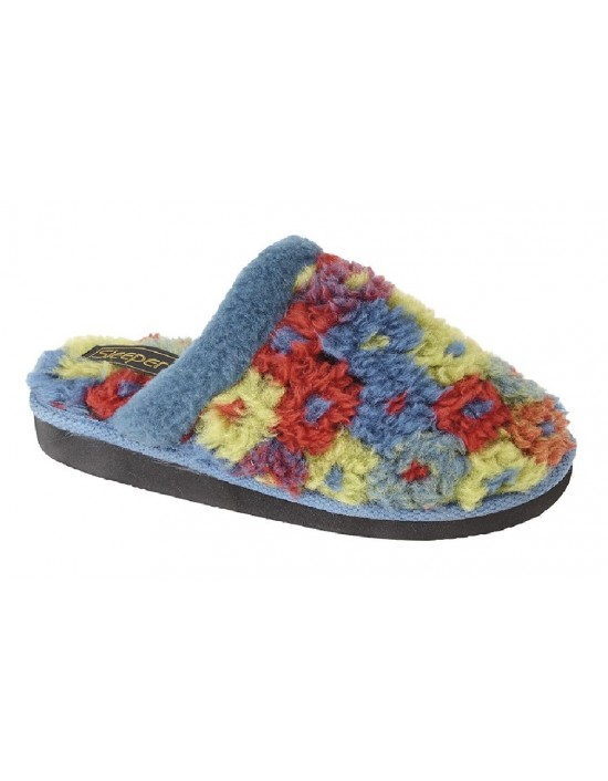 Ladies Mule Slippers KARLIE Textile Lightweight Knitted Slippers