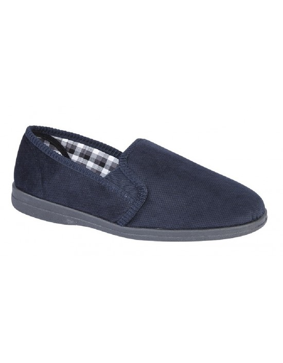 Mens Full Slippers Sleepers ALBERT Textile Twin Gusset Slipper