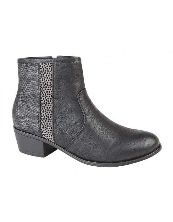 Ladies Black Reptile Print Ankle Boots Inside Zip Boots