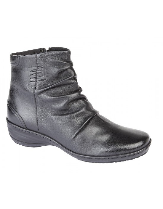 Ladies Fashion Boots Leather Folded Vamp Inside Zip Ankle Memory Foam Sole