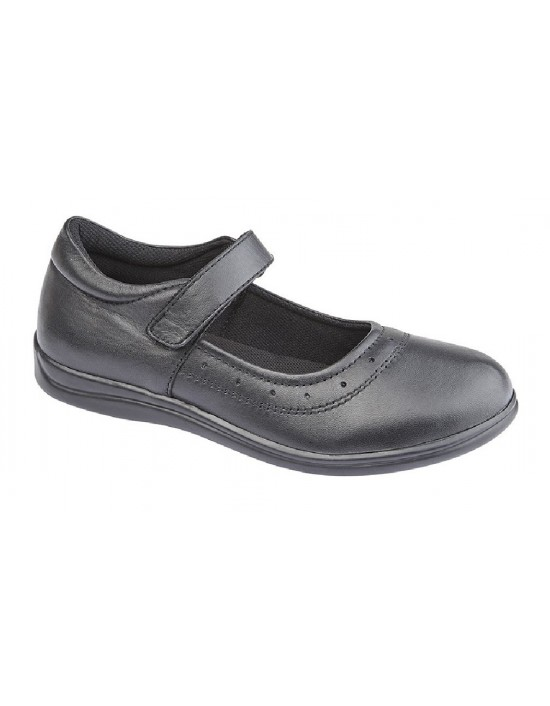 Childs Girls Roamers G859 Leather Padded Sock Touch Fastening School Shoes