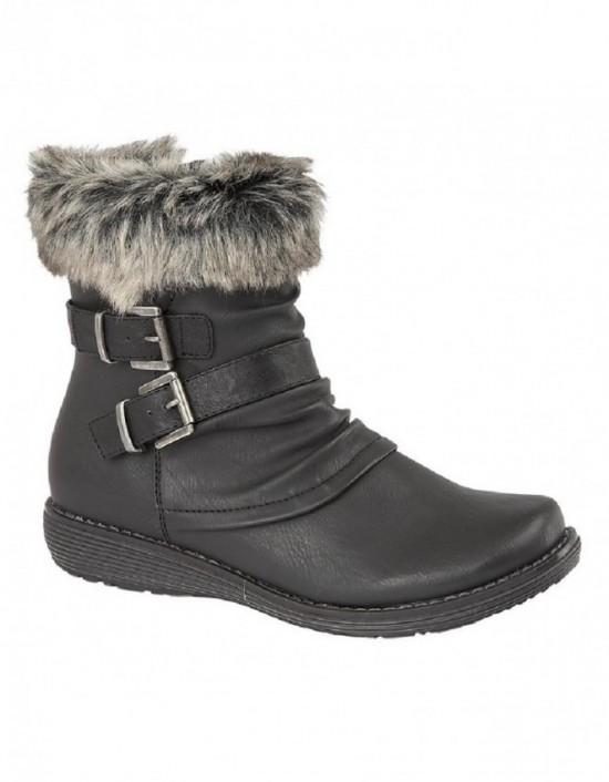Cipriata L5020 Isabella Women's Faux Fur Zip Up & Twin Buckle Ankle Boots