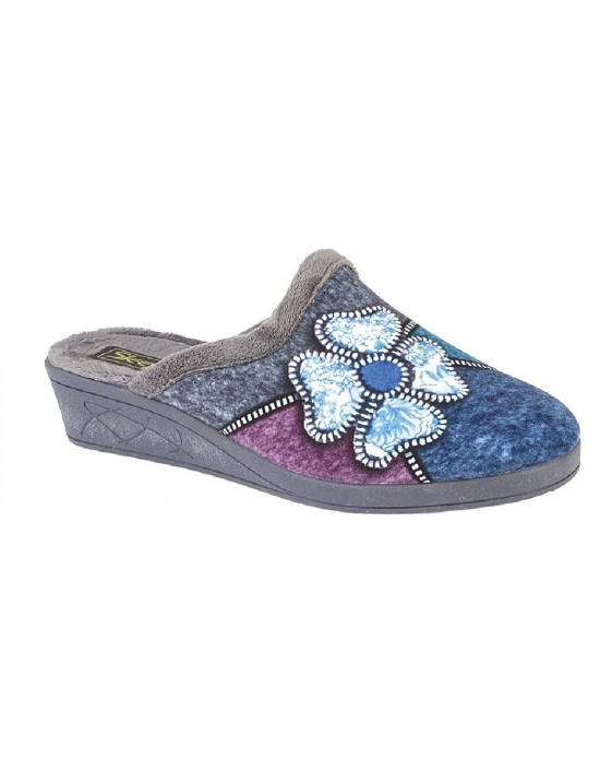 Ladies Grey KIMBERLY Flower Trim Mule Slippers Plush Velour Sock