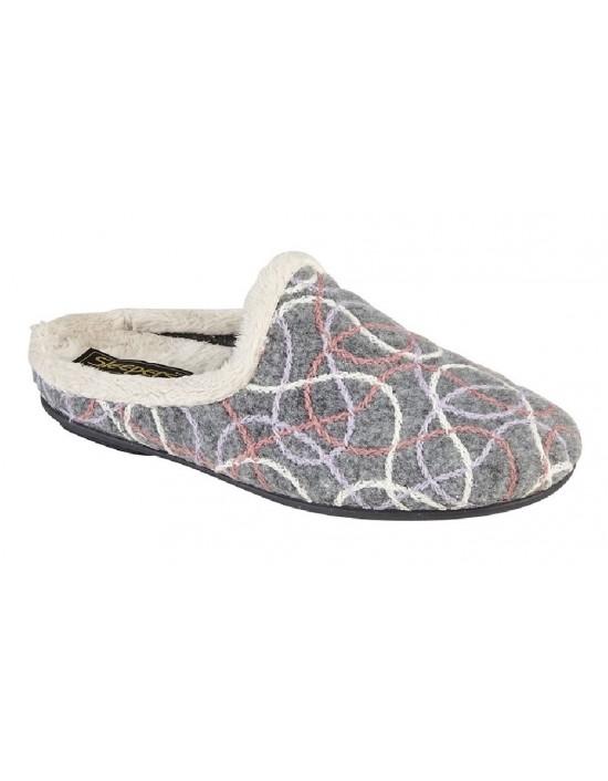 Sleepers KATIE Textile Knitted Lining Slip On Ladies Mule Slippers