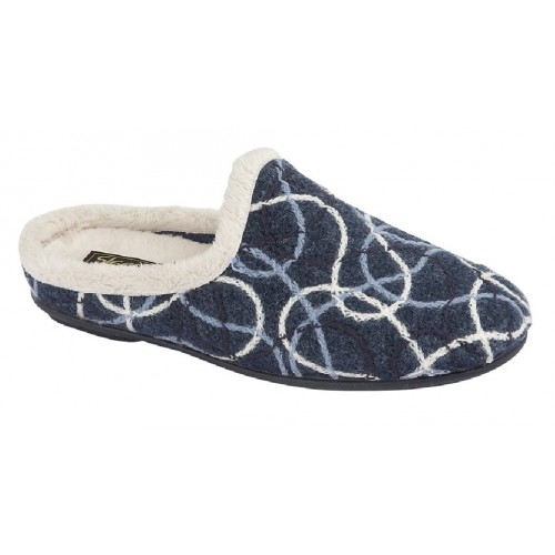 Padded Patterned Blue Knitted Sleepers 3 to 8 Womens Ladies Slip On Slippers
