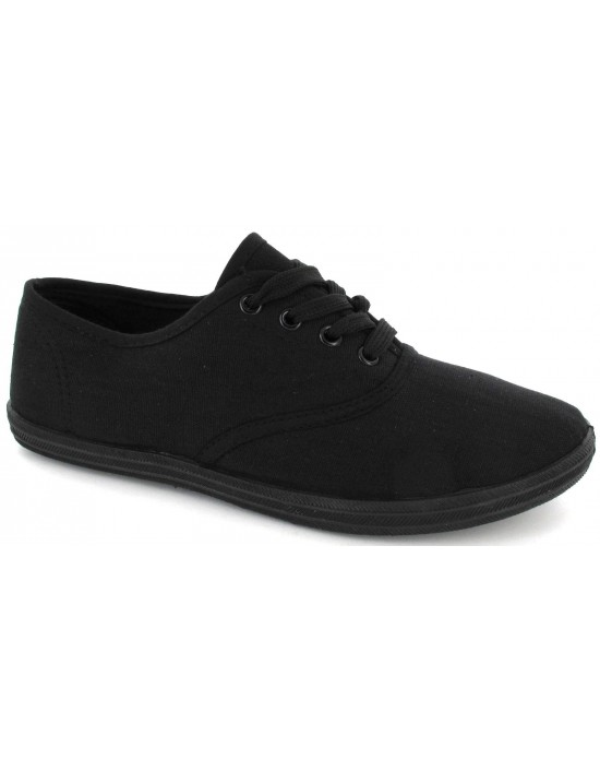 Ladies Lace Up Black Canvas Flat Trainers Plimsoll Shoes