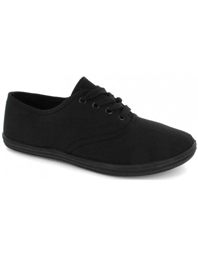 Ladies Lace Up Black Canvas Flat Trainers Plimsoll Shoes