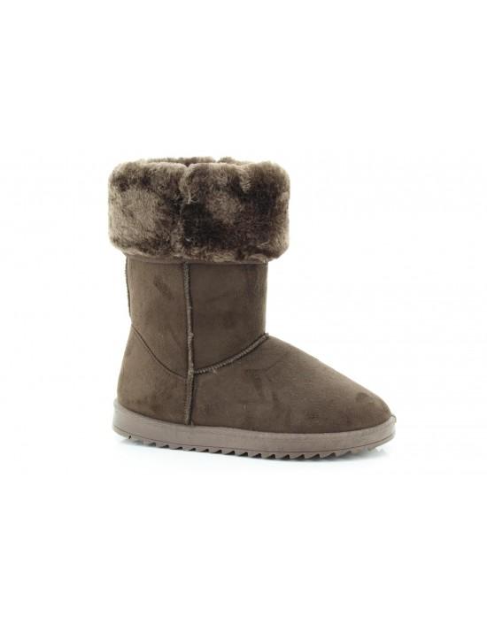 Ladies Frosty Dark Brown Winter Warm Fur Casual Snow Comfy Classic Boots