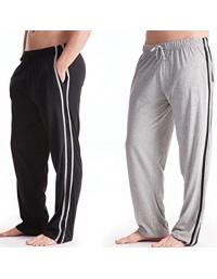 Mens Pyjamas Bottoms Trousers Cotton Mix pjs lounge plain jersey pants gym