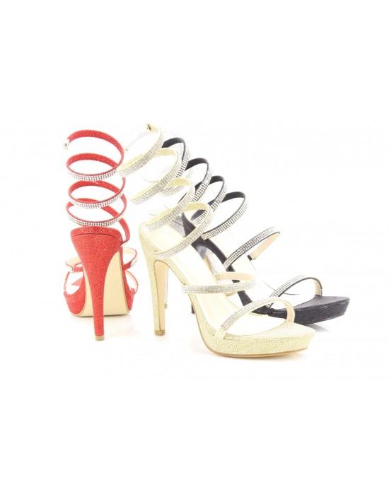 Exclusive Emma Designer Coil Fit Satin Metallic Evening Party Prom Sandals 2016