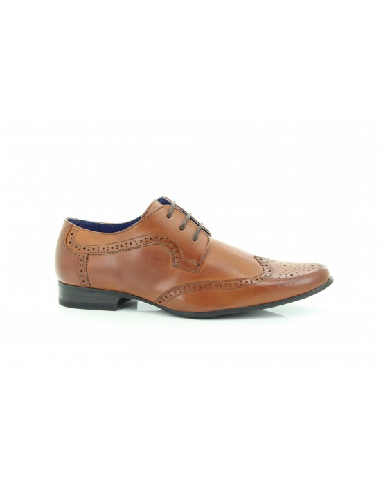 Mens Route 21 Classic Tan Brushed Brogue Lace Up Pointed Shoes
