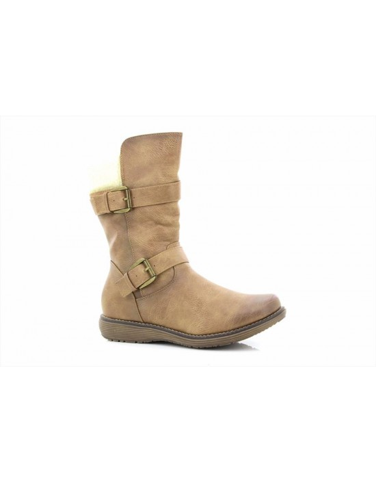 Cipriata Ladies Tan Mid Calf Fur Collar Boots