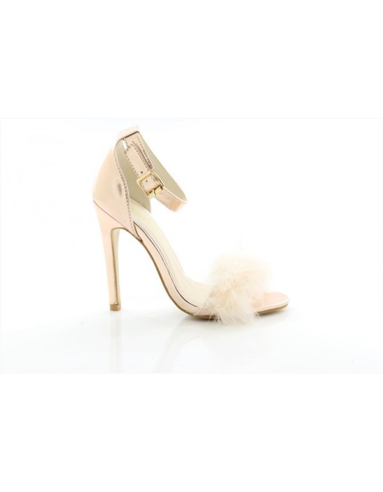 Ladies Truffle Collection Rose Gold Feather Heels