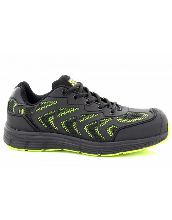 Grafters Unisex Super Light Weight Black Lime Safety Trainer Shoes