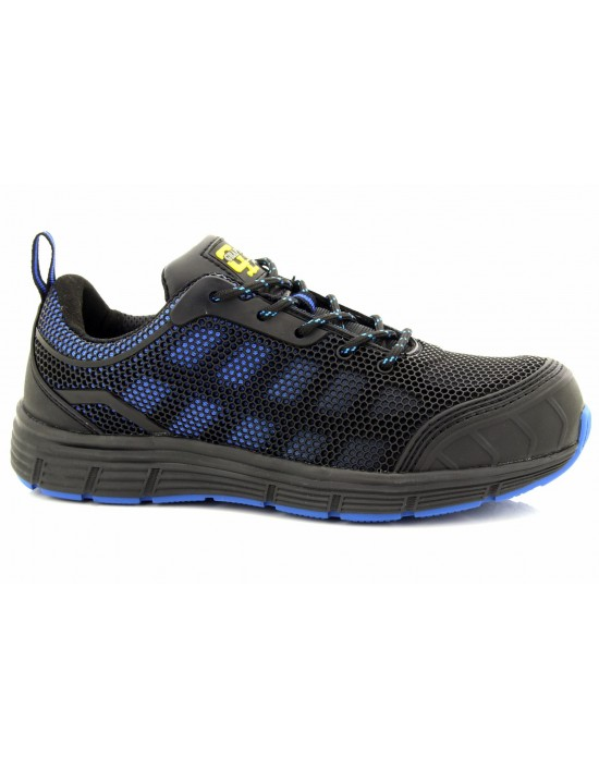 Grafters Unisex Vented Black Blue Sports Type Steel Toe Safety Trainers