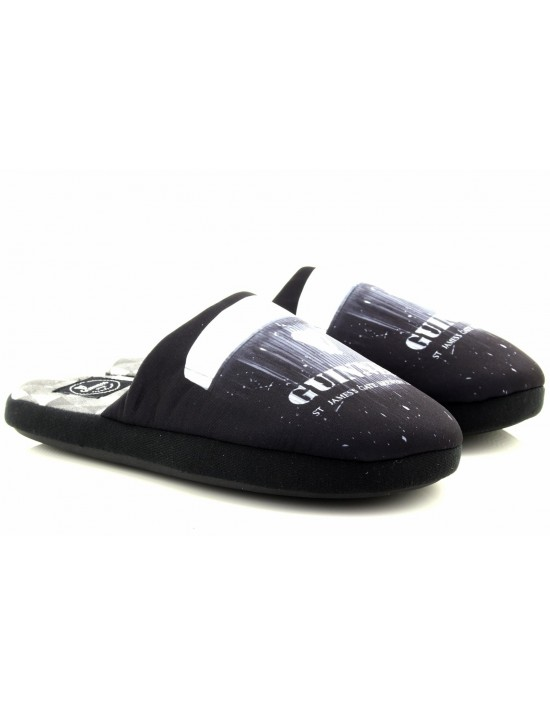 Mens Novelty Official Guinness Black Grey Soft Slip On Mule Slippers