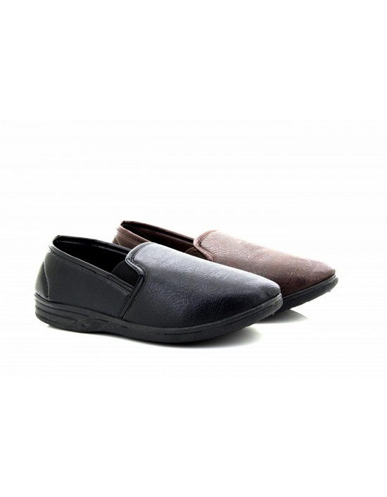 Mens Andrew Leather Look Indoor Slip On Full Slippers