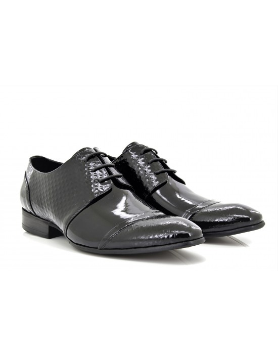 Mens Leather Designer Black Diamond Print Patent Formal Shoes